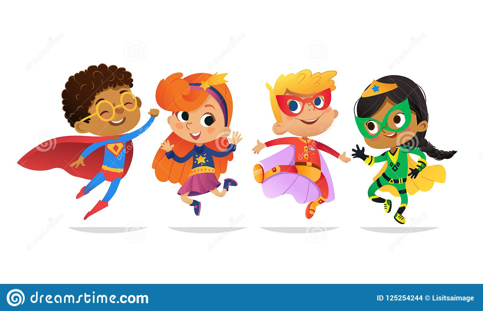 Blandras- pojkar och flickor, bärande färgrika dräkter av superheroes, lyckligt hopp Tecknad filmvektortecken av ungen