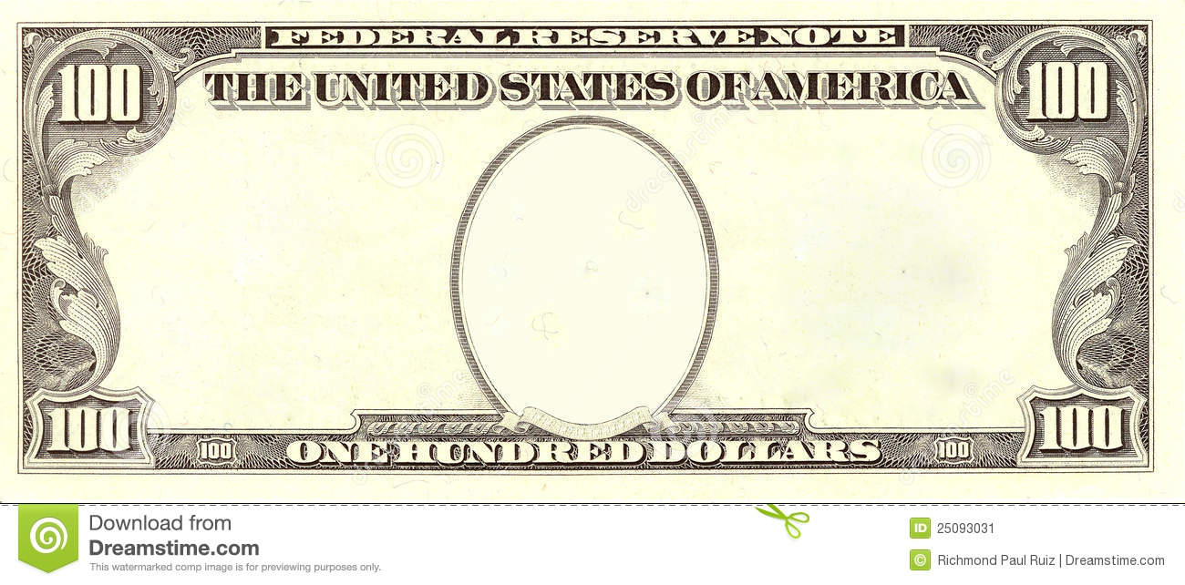 Blank 100 Dollar Bill Portrait Side Stock Illustration ...