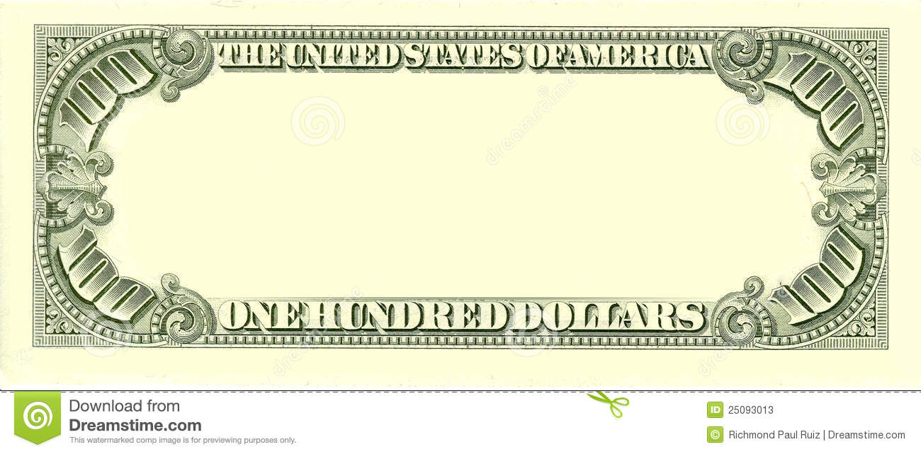 1983 Series Blank 100 Dollar Bank Note. Best for overlaying / adding ...
