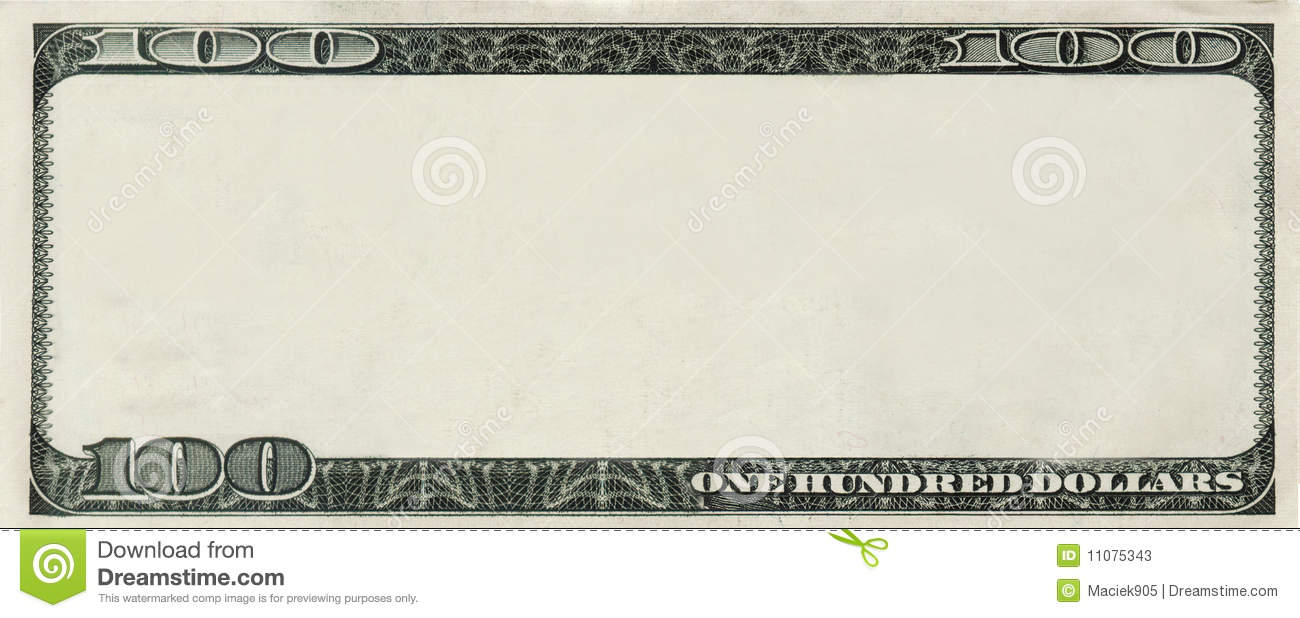 blank 100 dollars bank note with copyspace stock illustration