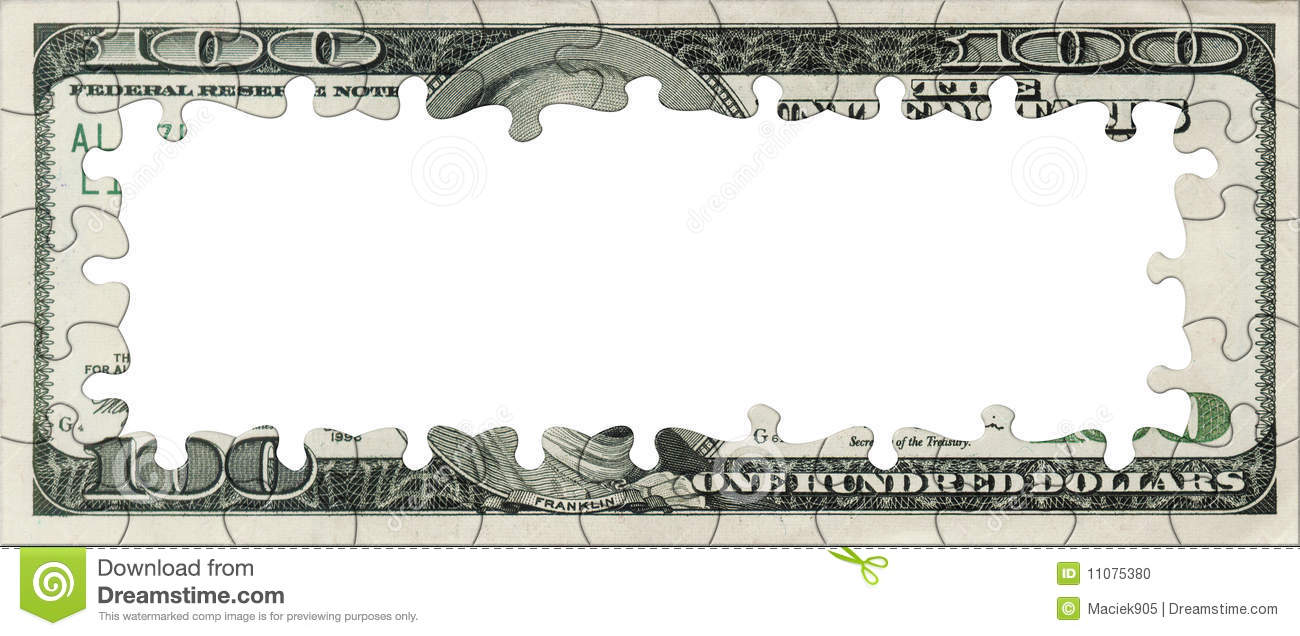 Blank 100 Dollars bank note puzzle frame