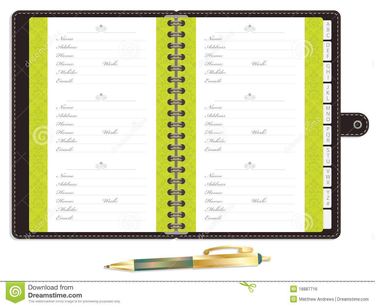 graphic relating to Printable Address Book Free Download named Blank go over guide inventory vector. Example of e-mail