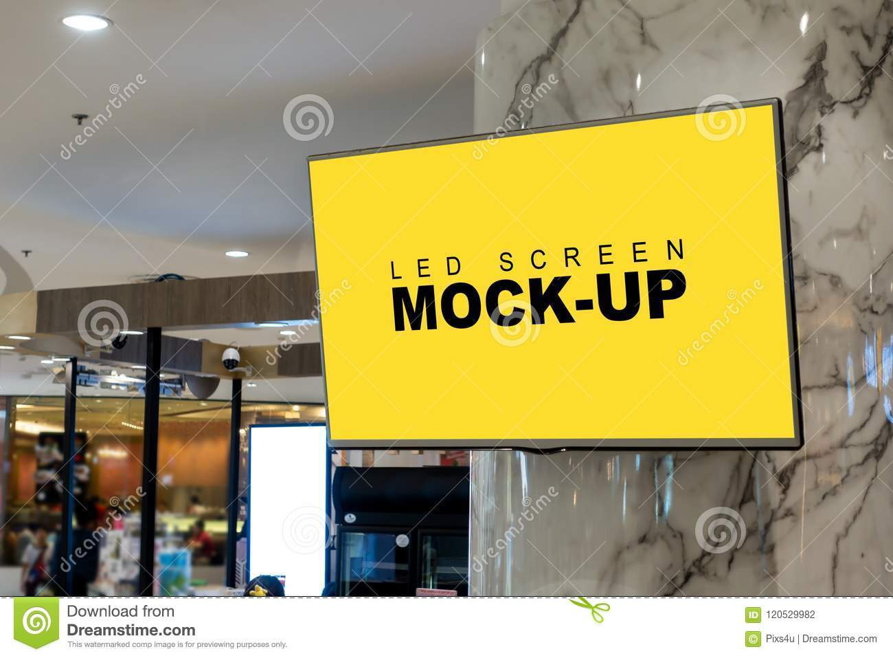 Blank advertising LED screen display hanging in mall