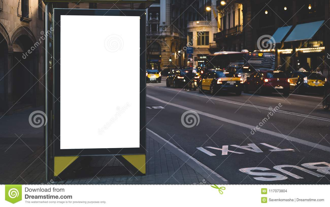 Blank advertising light box on bus stop, mockup of empty ad billboard on night bus station, template banner on background city str
