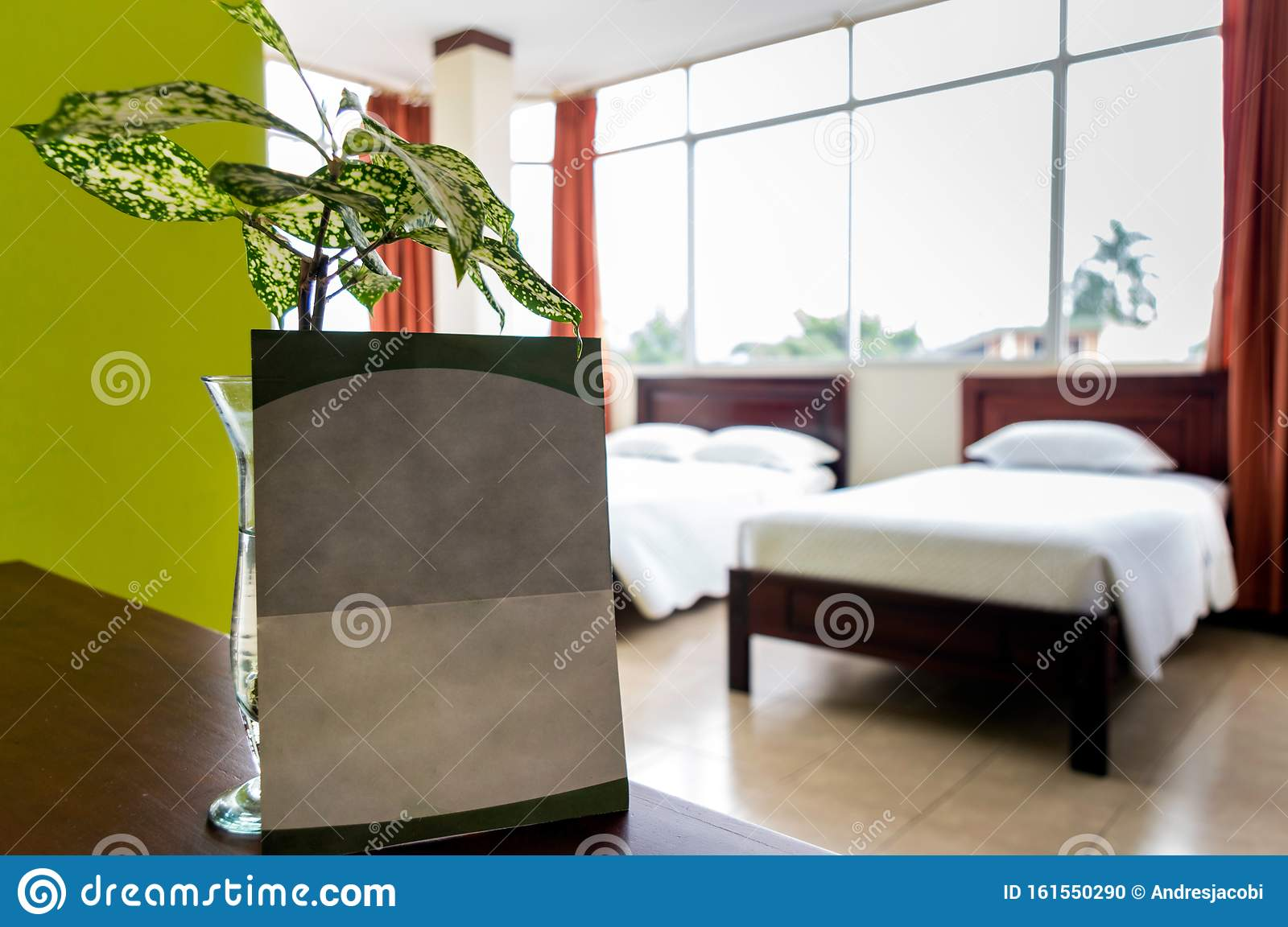 Blank Advertising Poster Inside A Hotel Room. Stock Photo ...