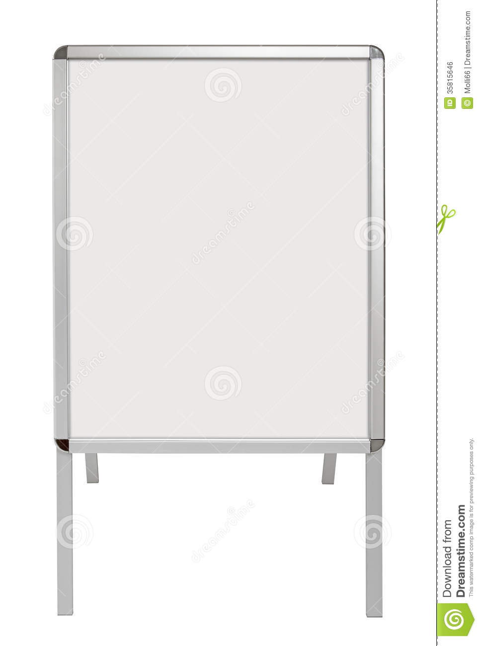Blank Advertising Stand Board Isolated On White Stock