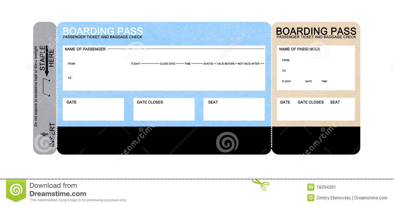 Blank Airline Boarding Pass Ticket. Isolated On White Stock Image  Printable Fake Airline Tickets