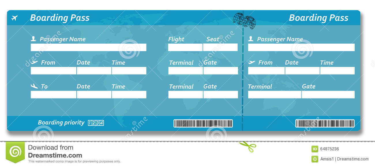 Blank Airline Boarding Pass Ticket Stock Photo - Image: 64875236