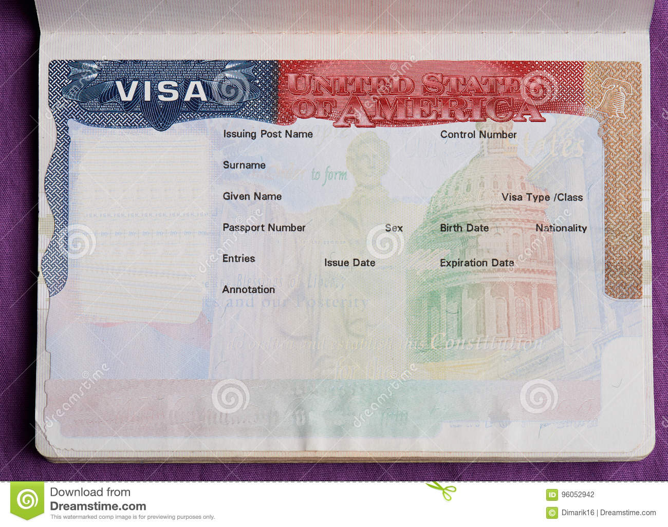 Blank american visa in passport