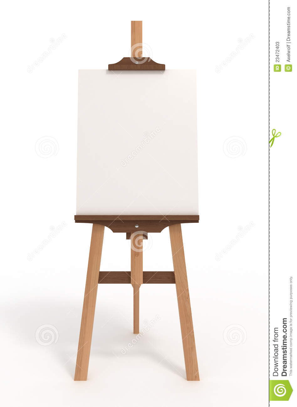 Blank art board, wooden easel, front view, on white, with clipping ...