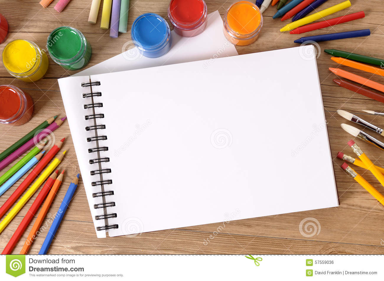Blank Art Book Or Sketch Pad With Art Equipment Paints On School Desk Copy Space Stock Photo ...