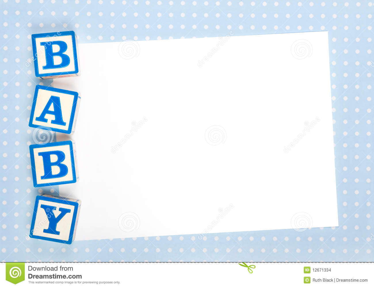 Blank Baby Announcement Stock Photo Image Of Scrapbooking 12671334