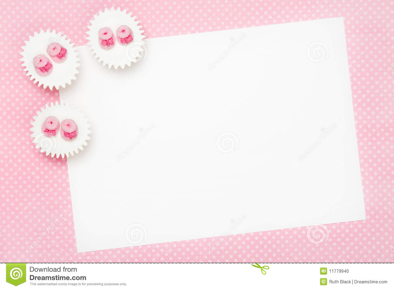 blank baby shower invitation stock photo