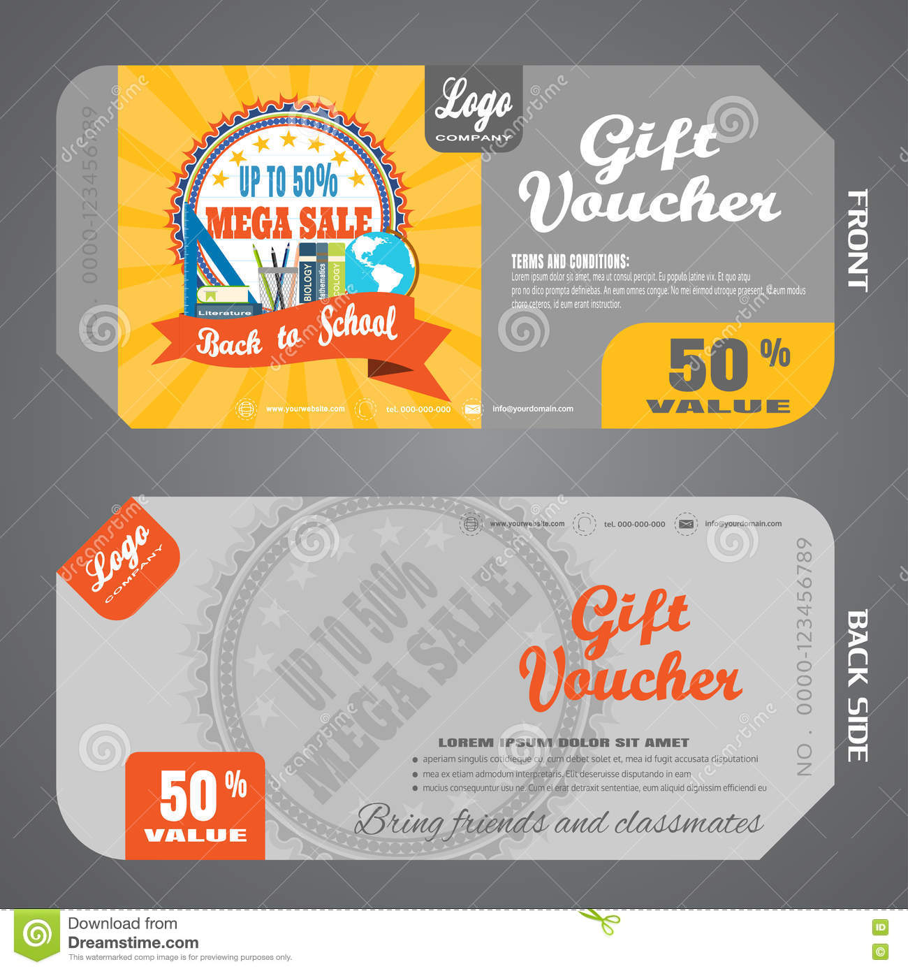 Blank Of Back To School Gift Voucher Vector Illustration To Increase