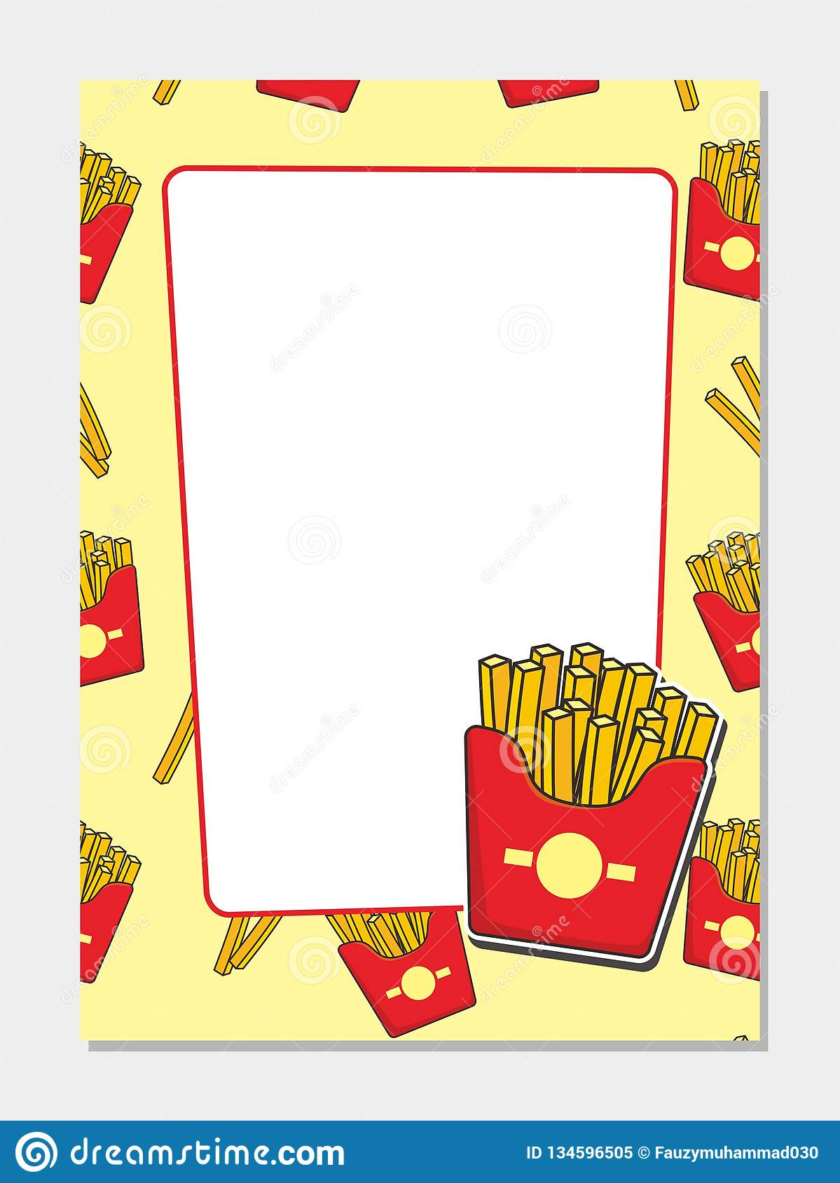 Blank Background Template For French Fries Menu Design Stock Vector