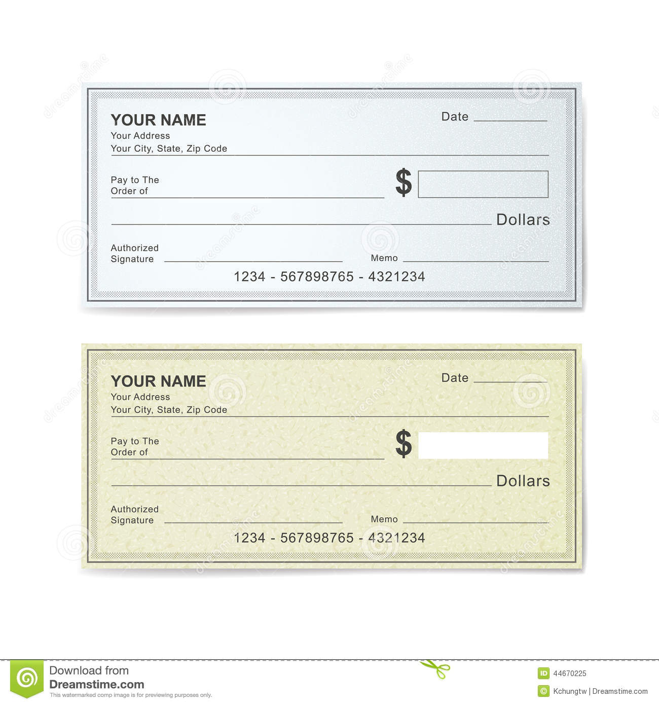 Music Management personal check examples