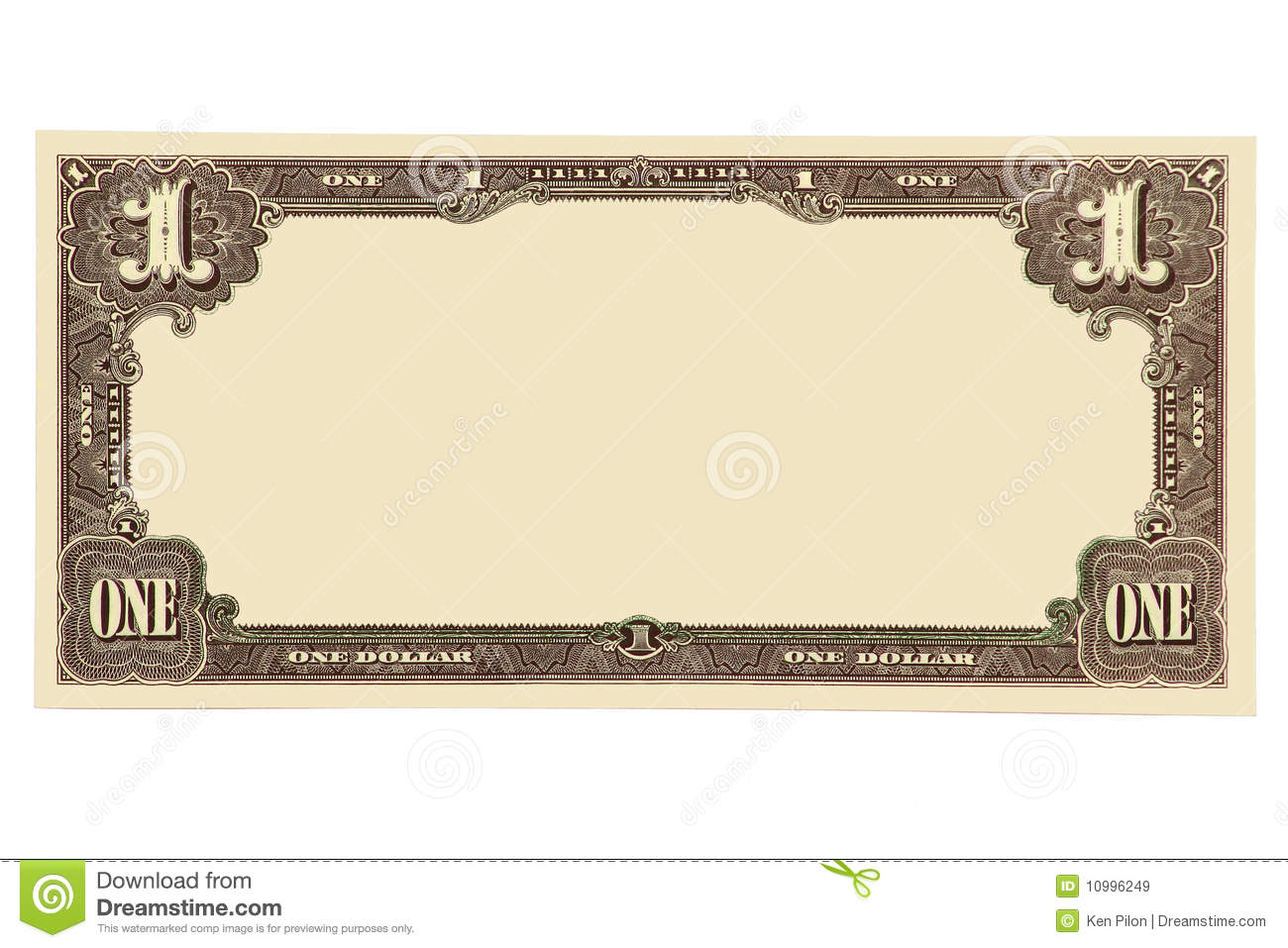 Blanked one dollar banknote with copy space.