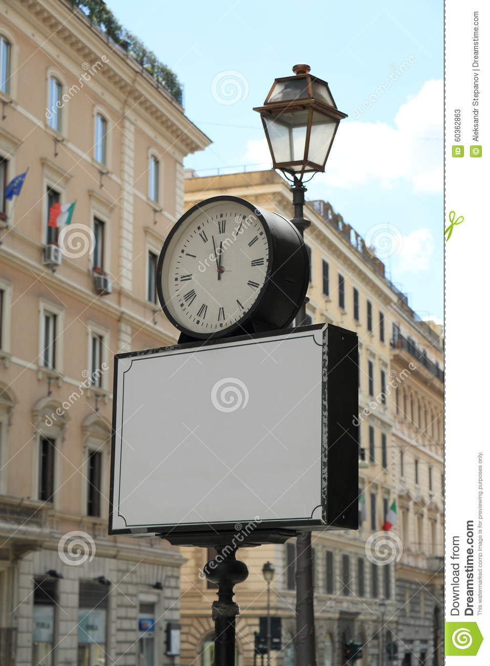 Blank Banner With Clock On Street In Italy Stock Image