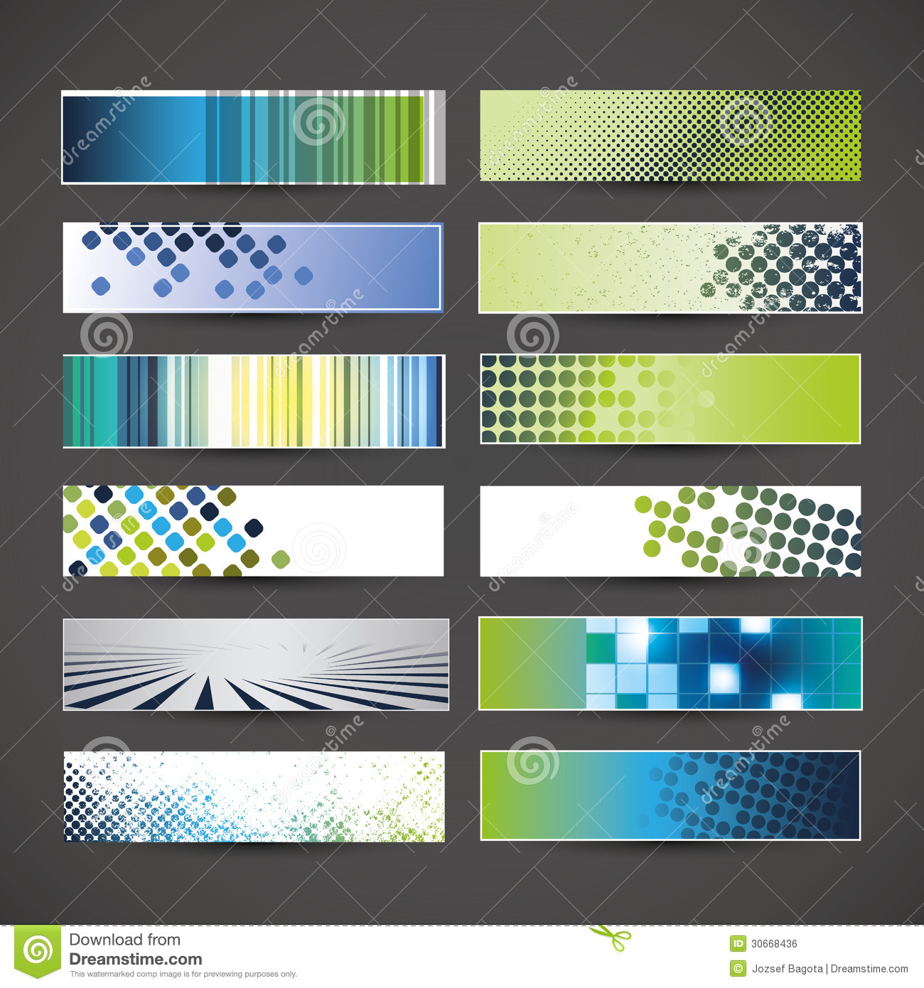 twelve colorful abstract header or banner designs in freely scalable