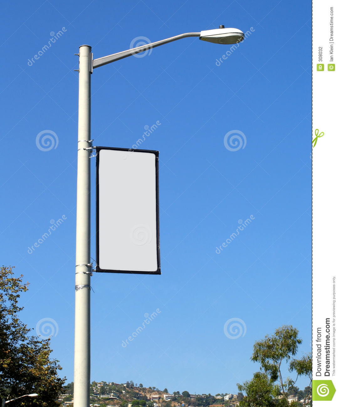 Blank Banner On Light Post Stock Photo Image Of Lamp