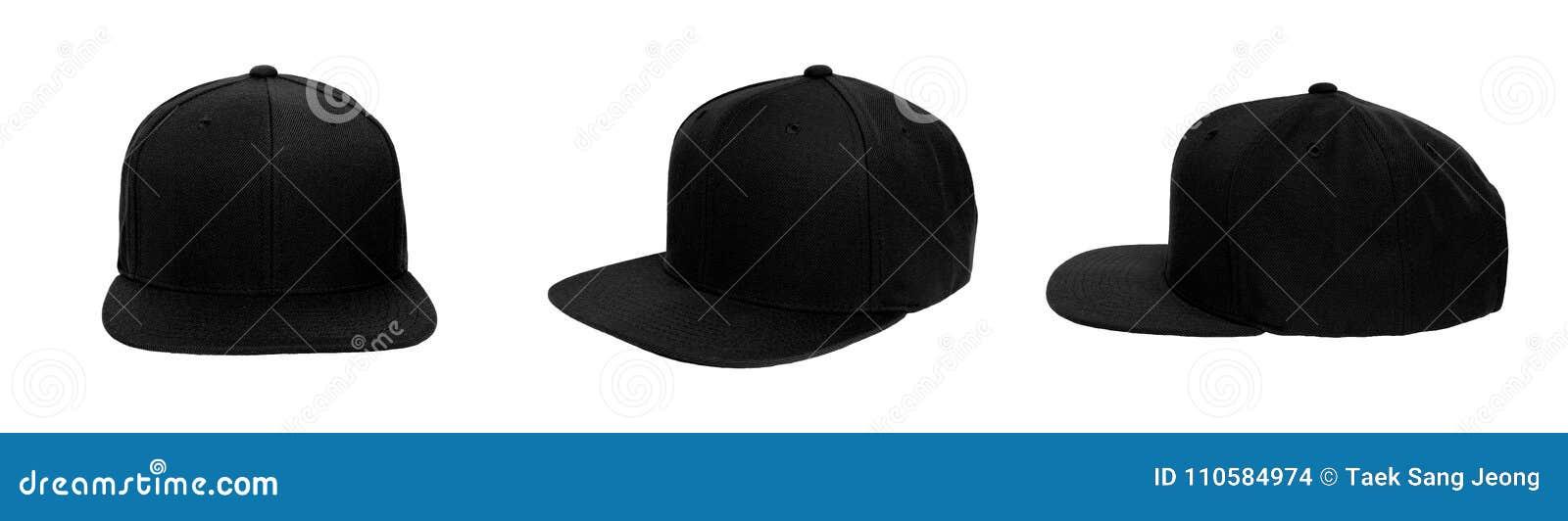 Blank baseball snap back cap color black
