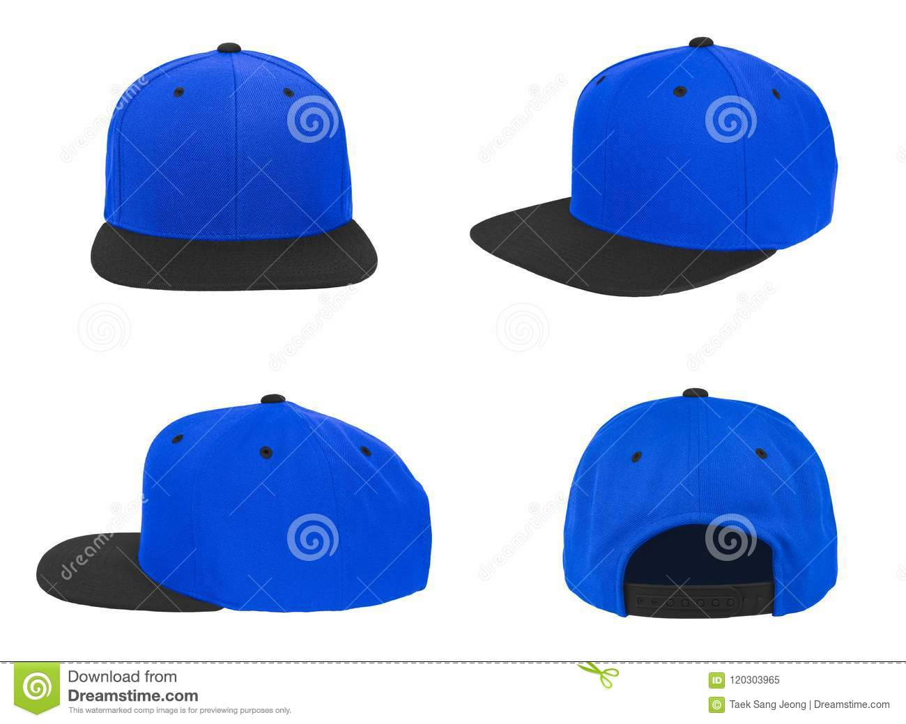Blank baseball snap back cap two tone color black blue on white background 3f5efc8abc97