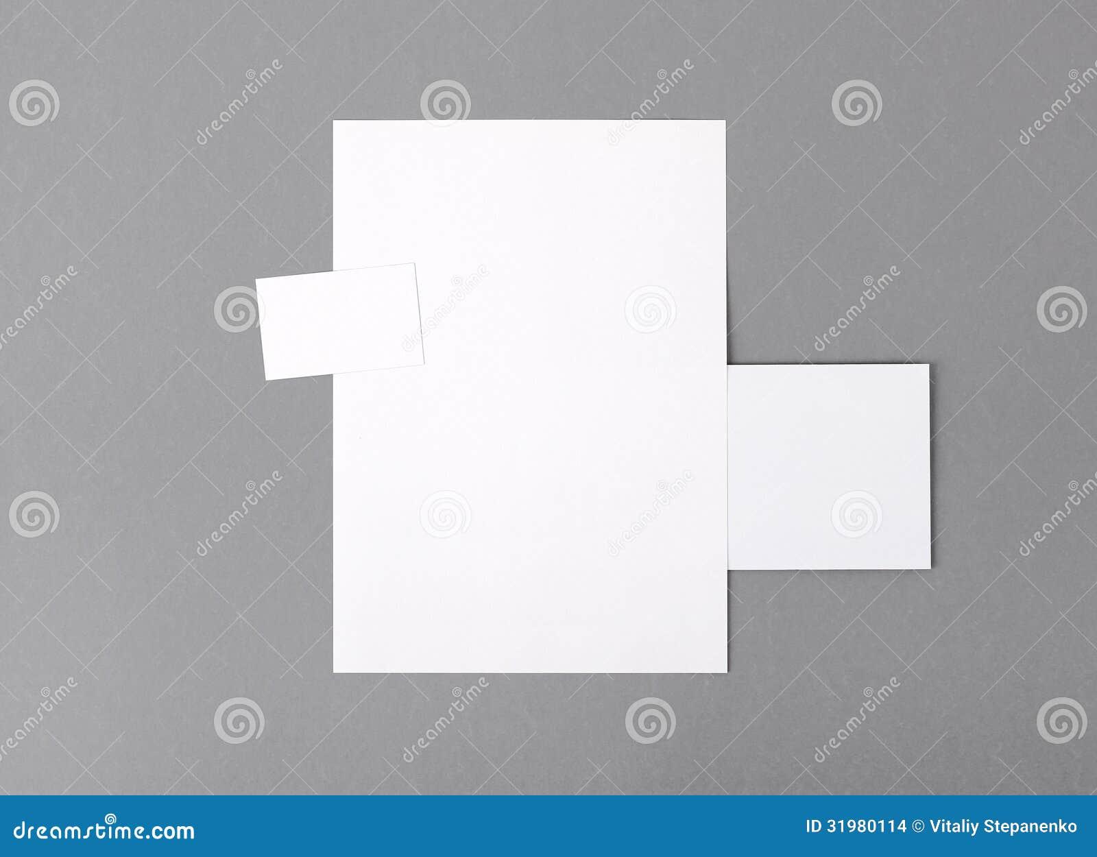 Blank basic stationery letterhead flat business card envelope letterhead flat business card envelope stock photo image reheart Choice Image