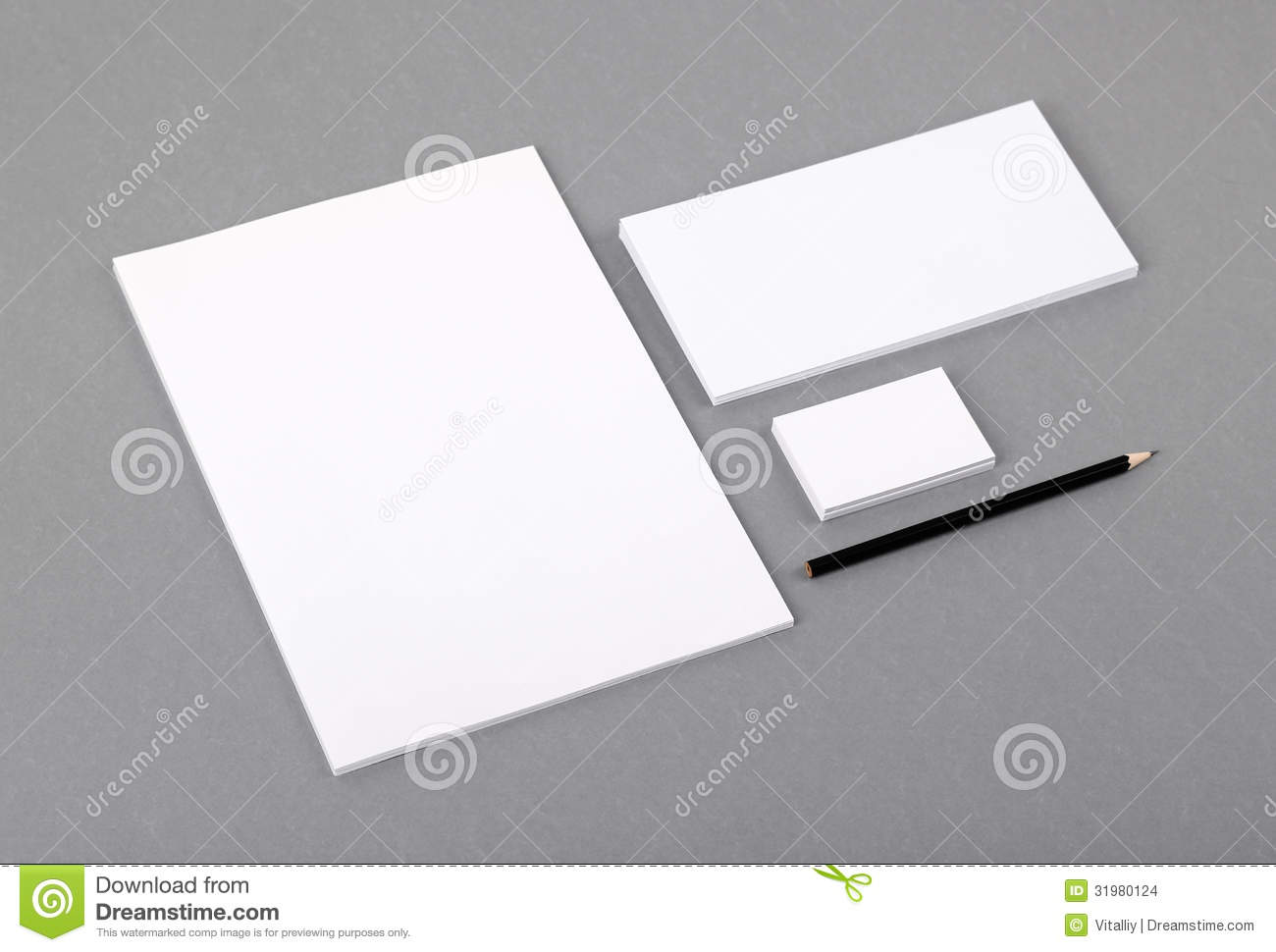 Blank Basic Stationery Letterhead Flat Business Card Envelope - Blank template for business cards