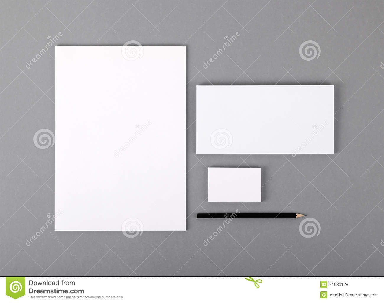 Blank Basic Stationery. Letterhead Flat, Business Card, Envelope ...