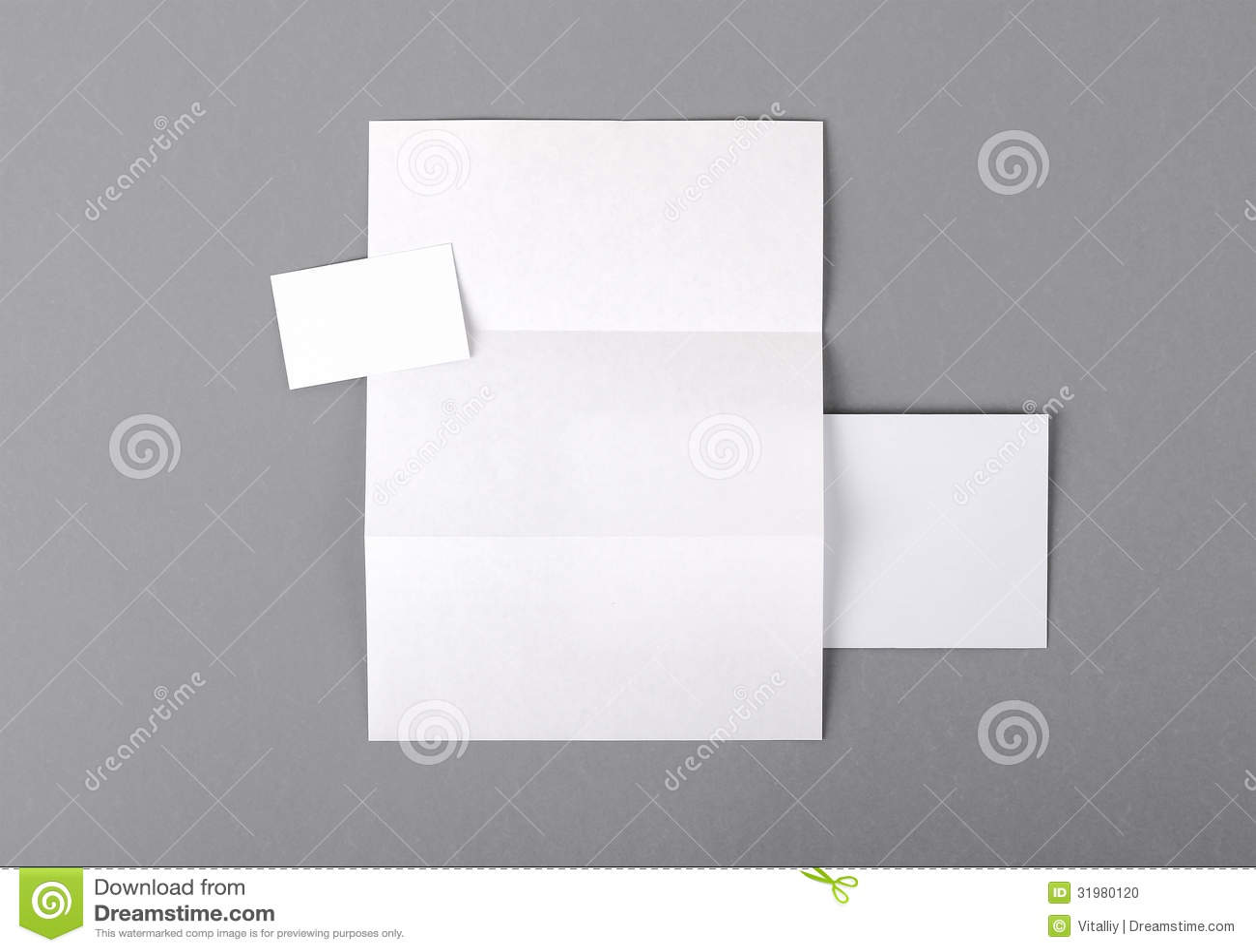 Blank Basic Stationery. Letterhead Folded, Business Card, Envelo ...