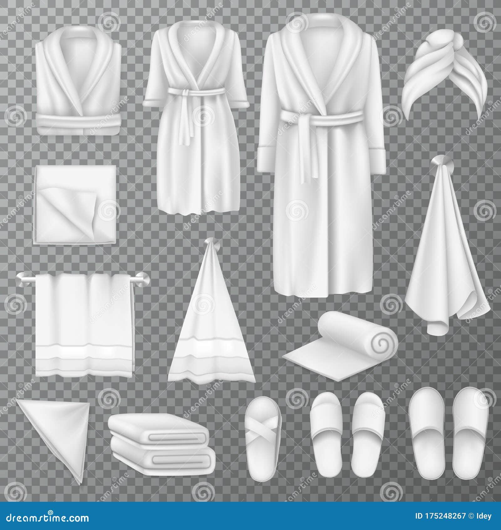 Woman With Bathrobe For Spa Template: Blank Bathrobe Fluffy Towel, Slippers, Cloths Empty