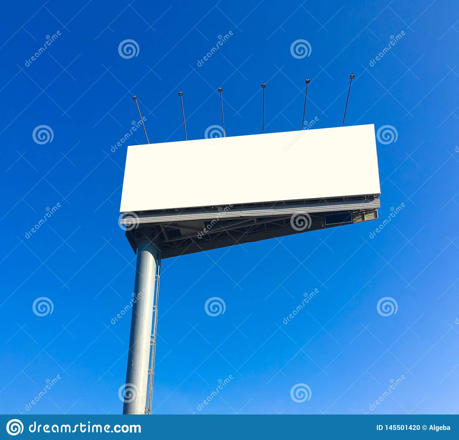 Blank billboard at blue sky background