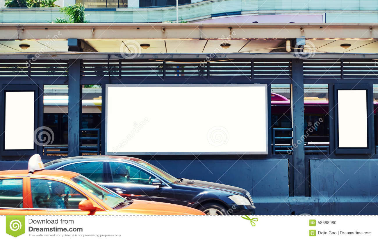 Blank billboard in street
