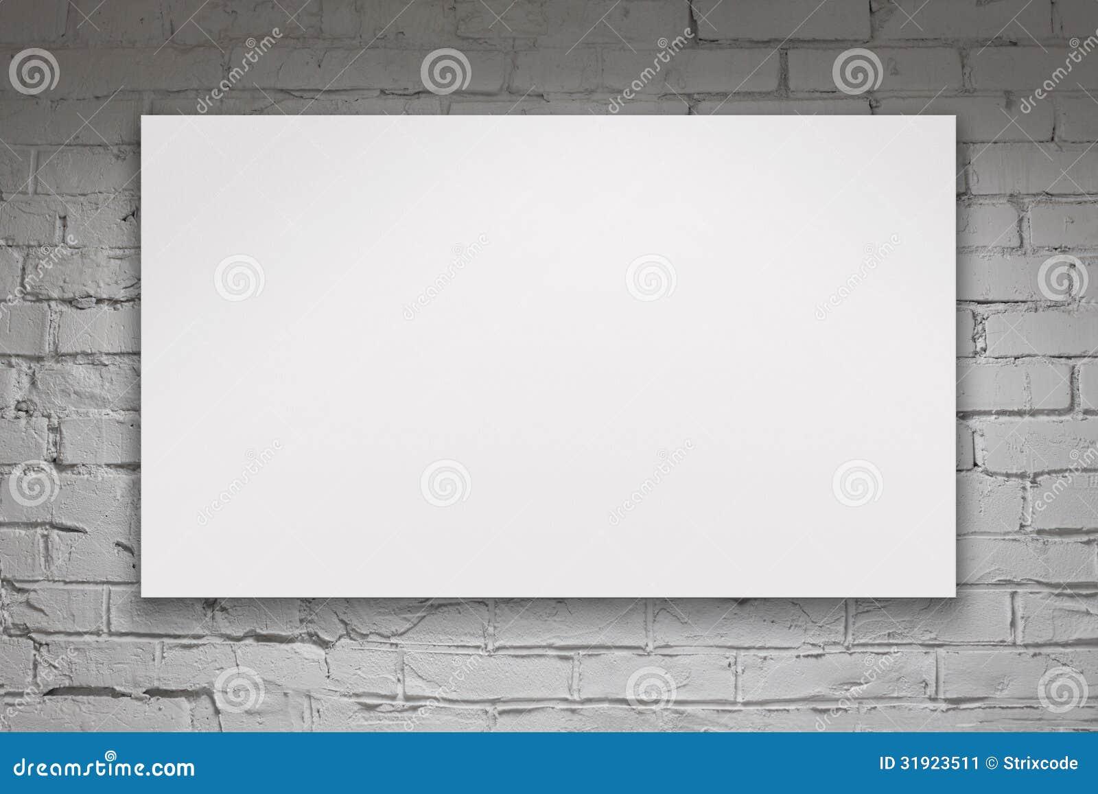 Blank Billboard Over White Brick Wall Stock Image