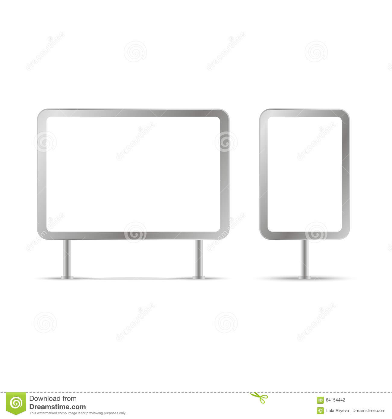 blank billboards and outdoor advertisement templates isolated