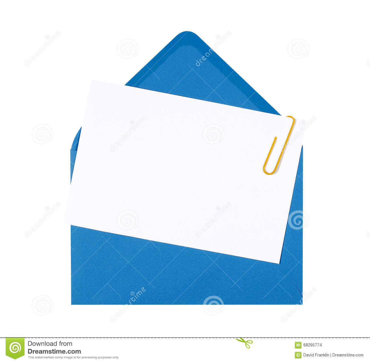 Blank Birthday Invitation Card With Blue Envelope And Yellow Paper ...