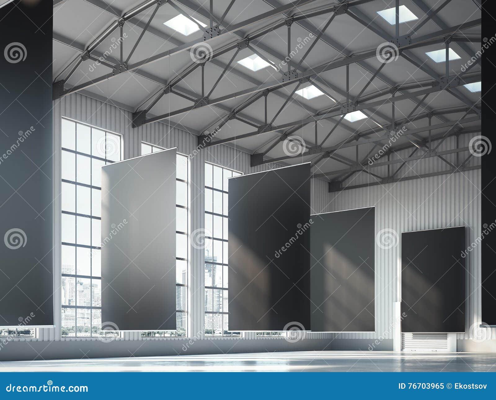 Blank black banners in hangar area. 3d rendering