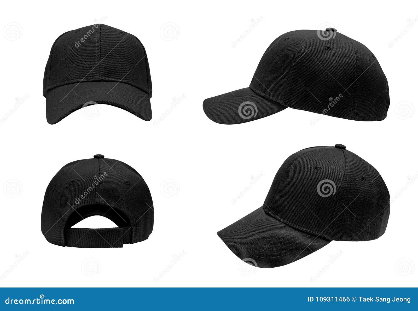 Blank black baseball cap,hat 4 view