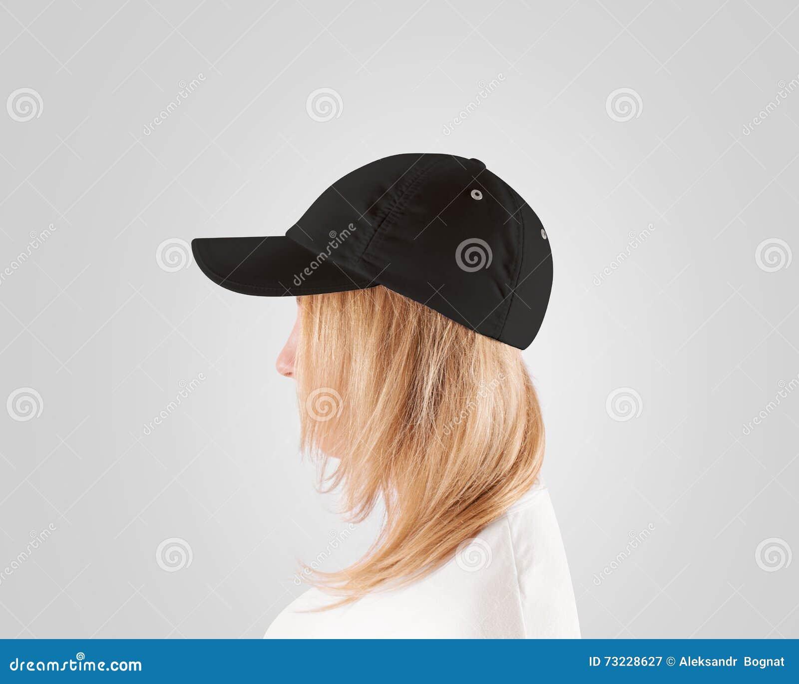 14a6ba45745 Blank Black Baseball Cap Mockup Template