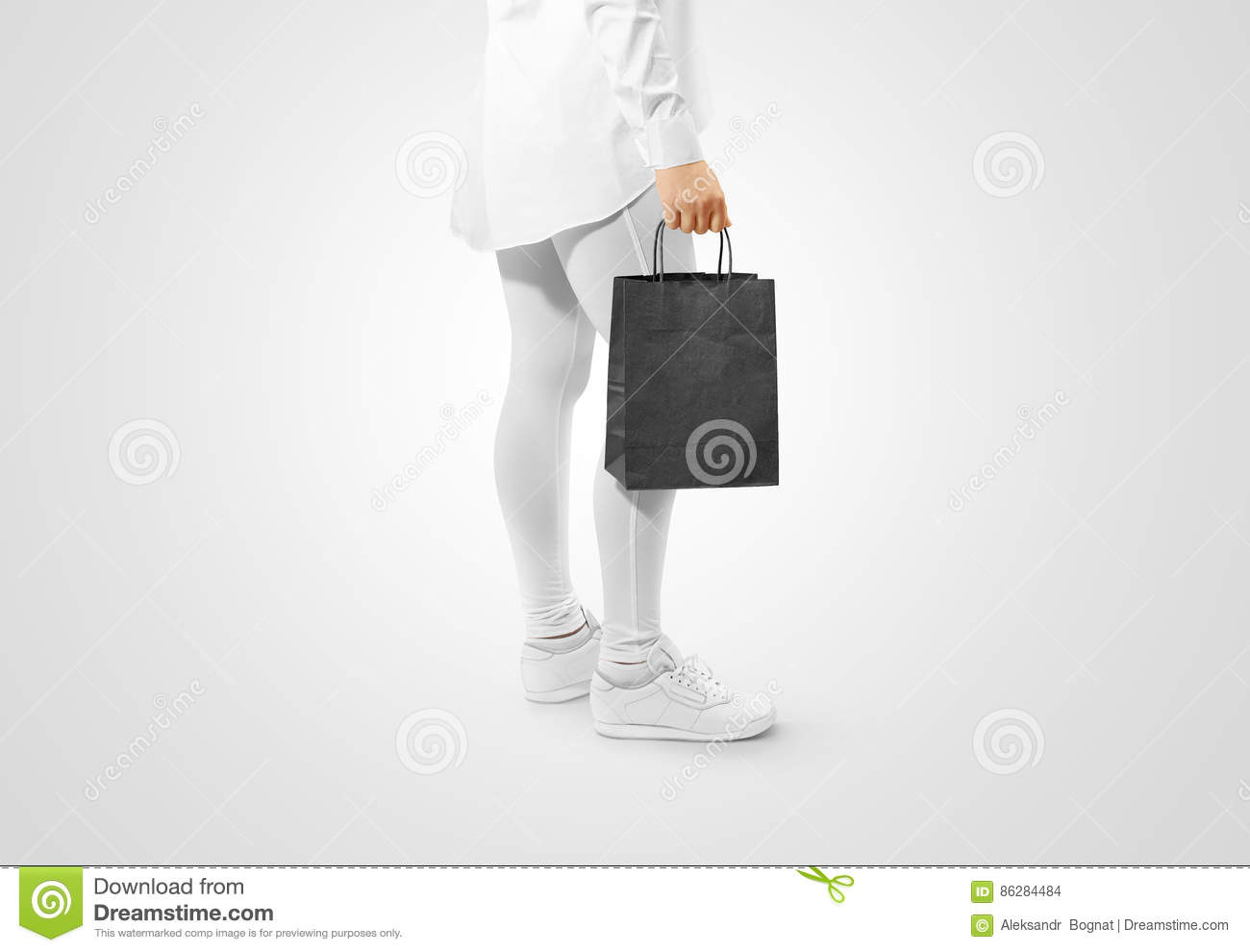 Blank Black Craft Paper Bag Design Mockup Holding Hand Stock Photo Image Of Pack Bagful 86284484