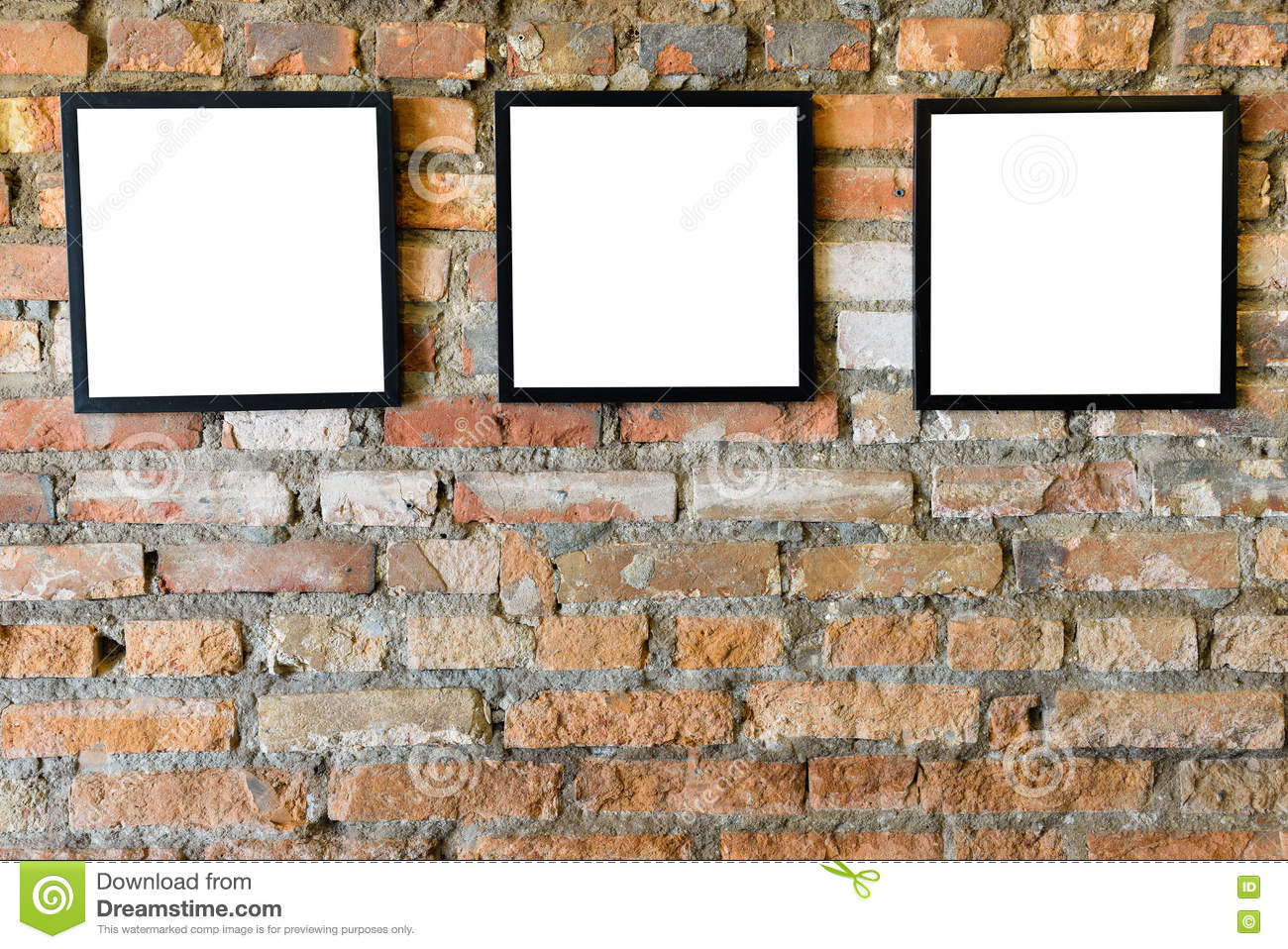 Download Blank Black Frames Old On Old Brick Wall Stock Photo   Image Of  Decoration,