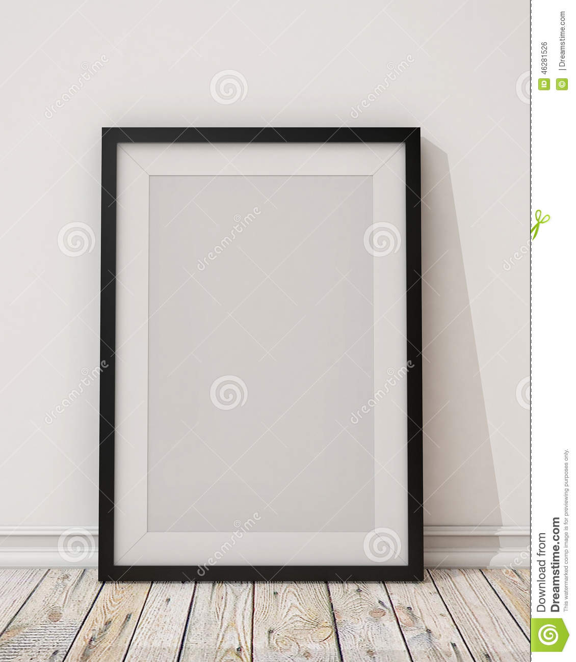 blank black picture frame on the wall and the floor stock illustration