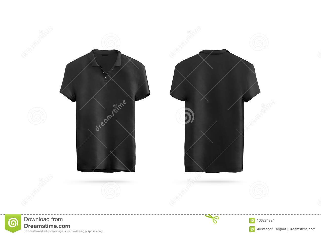 Blank Black Polo Shirt Mock Up Isolated, Front And Back Stock Photo ...
