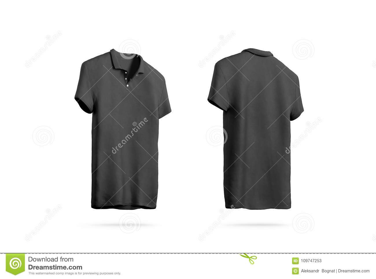 Blank Black Polo Shirt Mockup , Front Back Side View Stock Image ...
