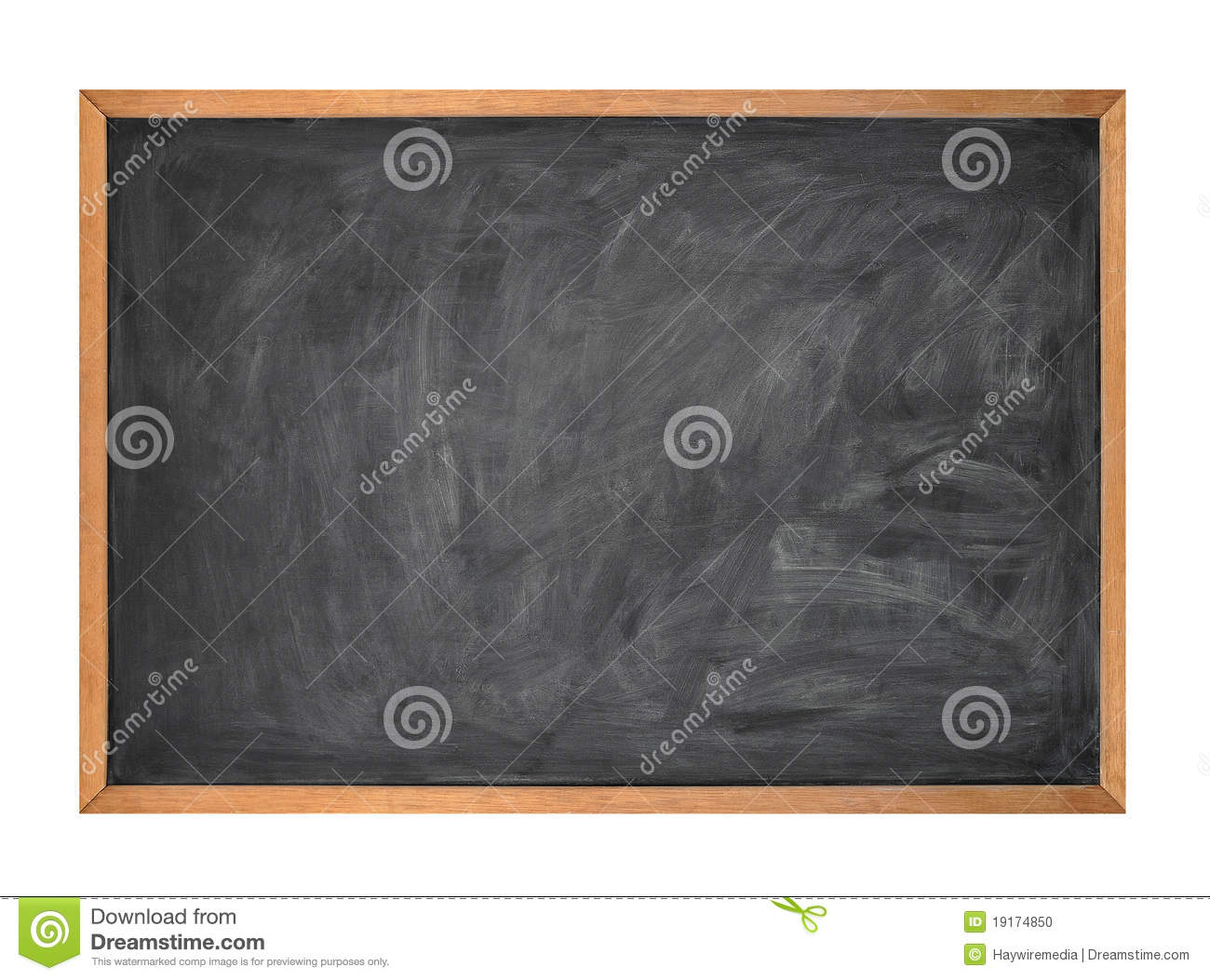 Blank Black School Chalk Board on White