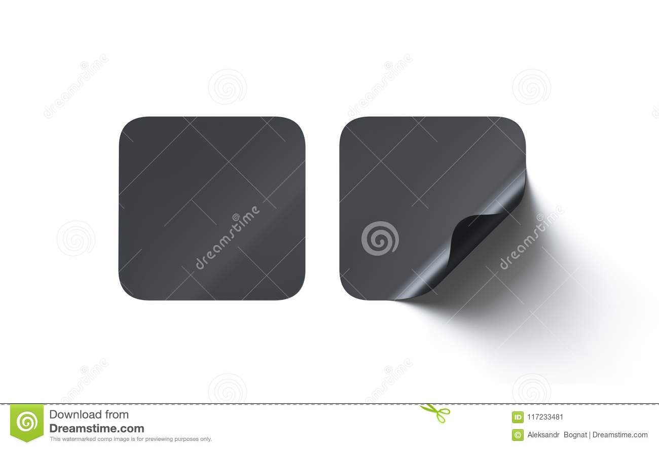 Blank Black Square Adhesive Stickers Mock Up With Curved Corner Stock Illustration