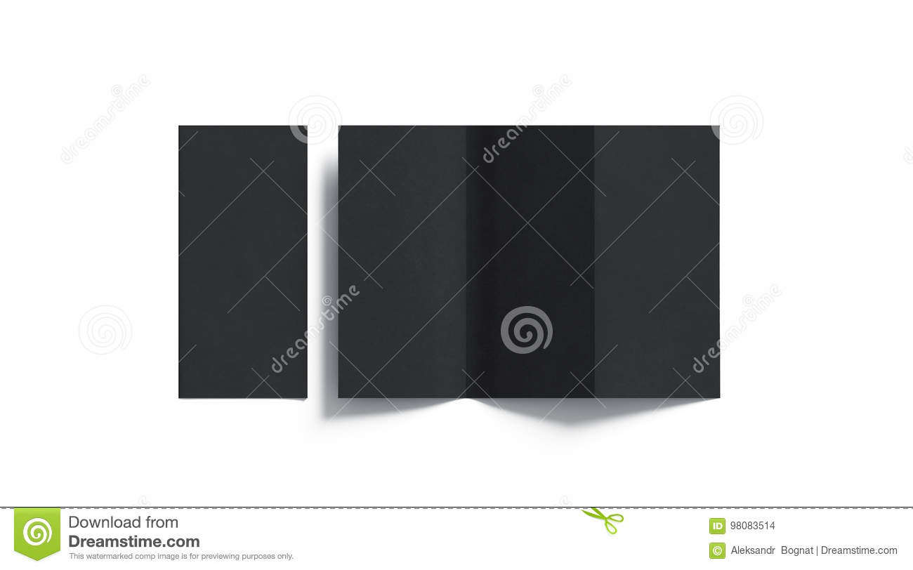 Blank black tri folded booklet mockup, opened and closed