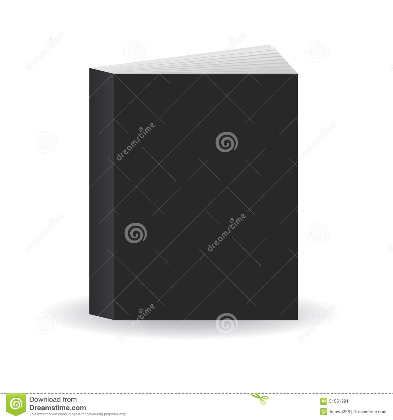 Blank Black Book Cover Template ~ Blank black vector book cover template standing on floor