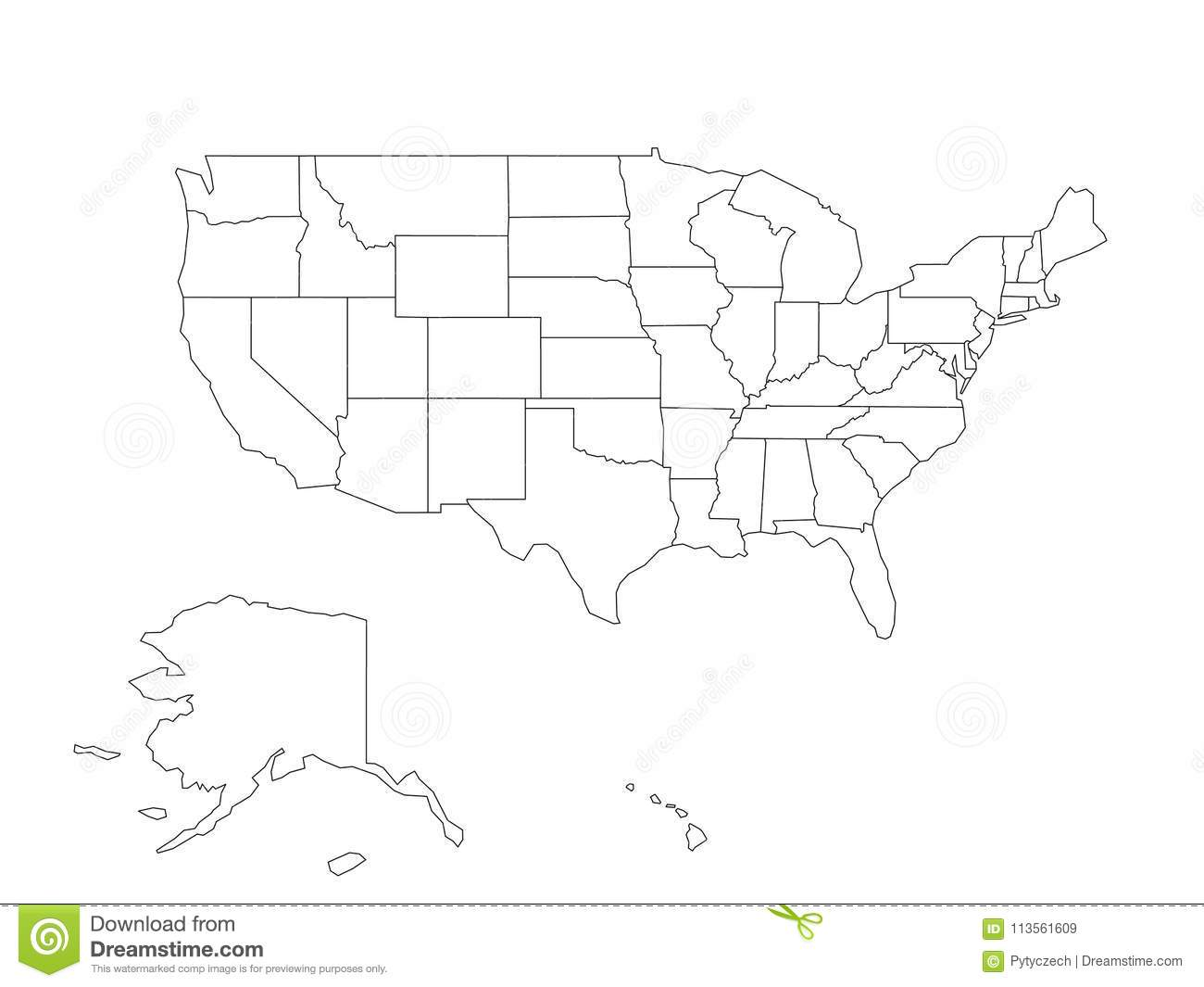 Blank Black Vector Outline Map Of USA, United States Of ...