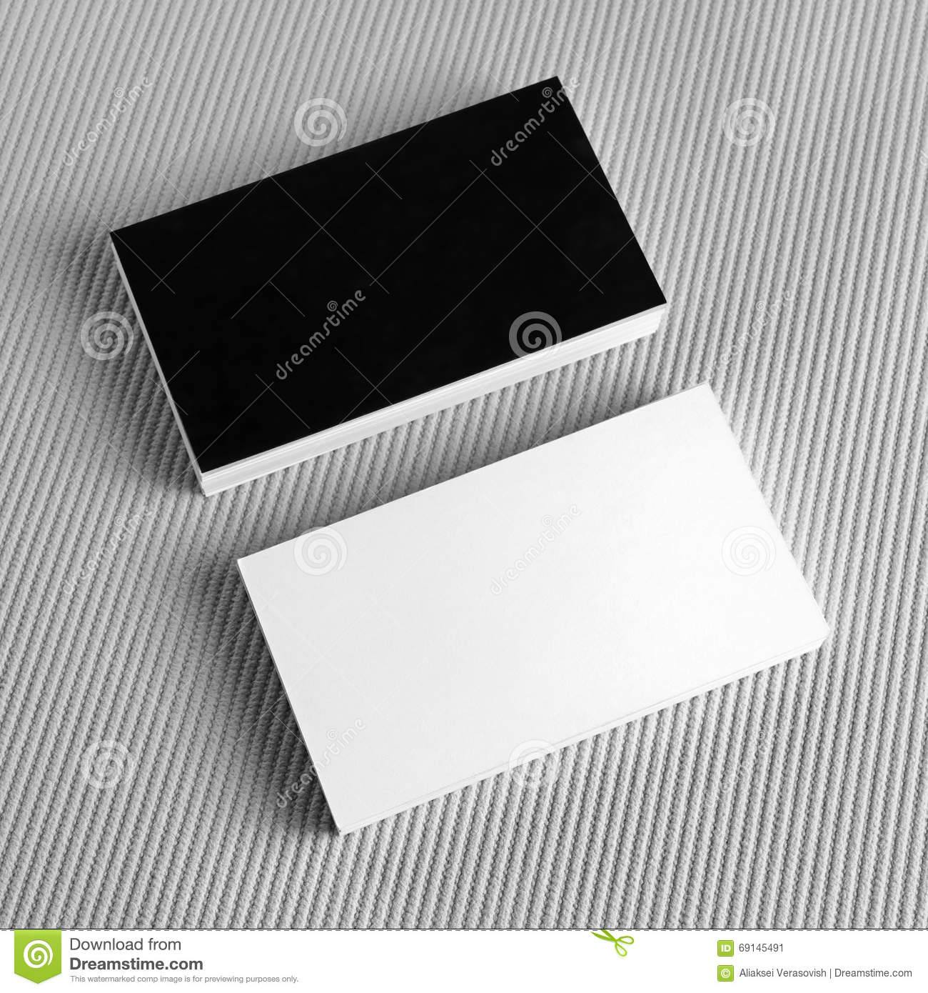 Blank Black And White Business Cards Stock Photo - Image: 69145491